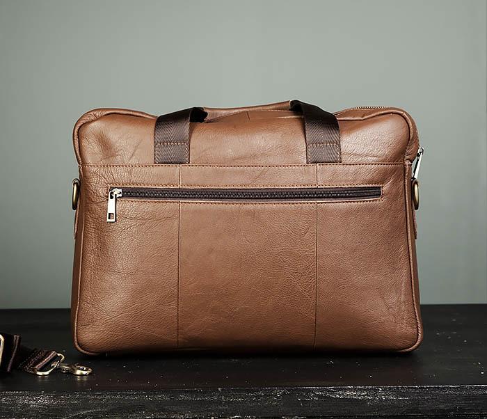 BAG428-2 Стильный мужской портфель из натуральной кожи с ремнем на плечо фото 05