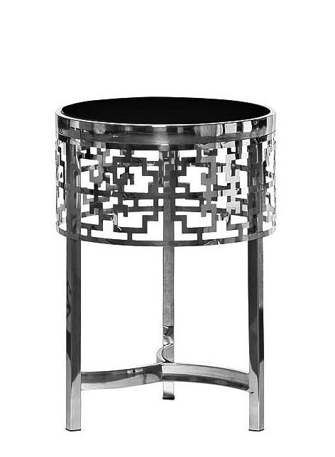 13RXFS5080M-SILVER Стол журнальный стекло черн./серебро d35*50см