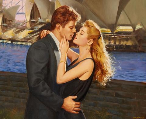Алмазная Мозаика 40x50 Поцелуй пары у берега (арт. SGL73647)