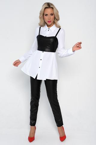 <p>Один из самых модных образов нового сезона! Удлиненная рубашка на пуговицах идеального кроя и топ из эко-кожи отлично дополняют друг друга.</p>