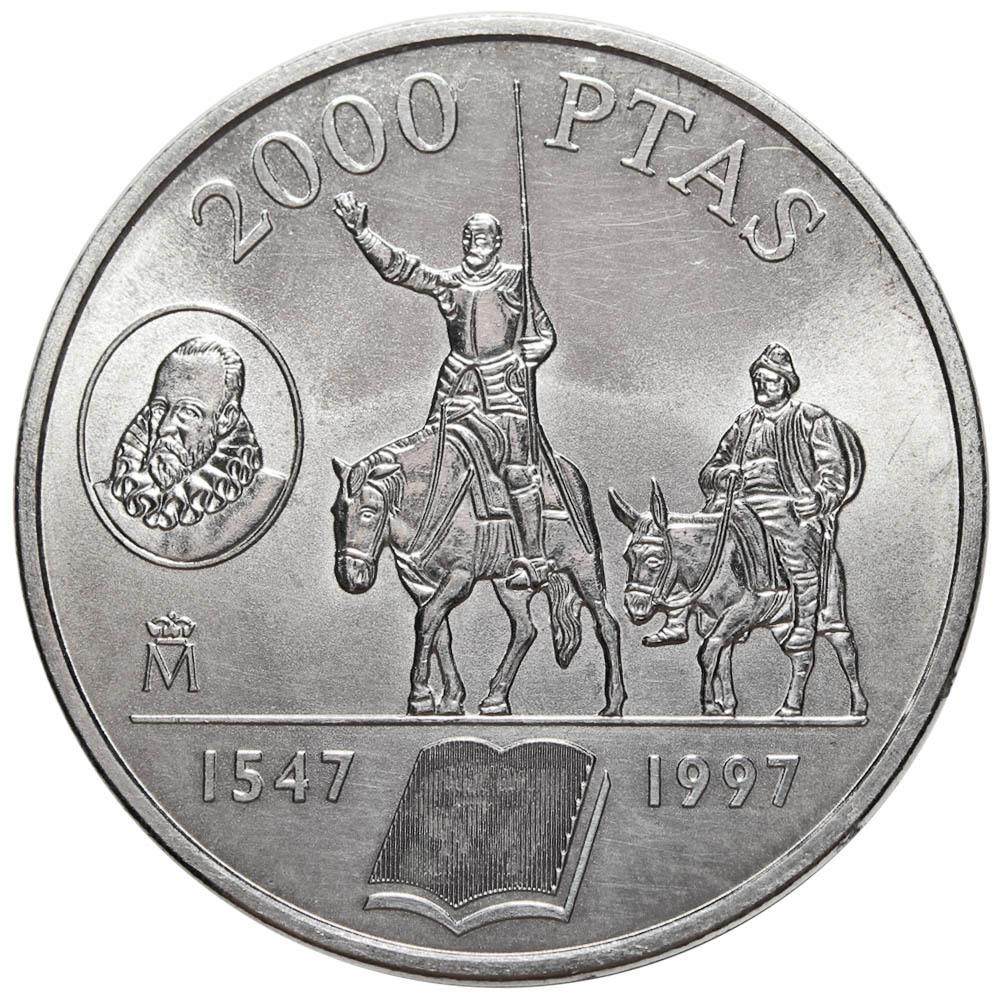 2000 песет. 450 лет со дня рождения Сервантеса, автора Дон Кихота. Испания. Серебро. 1997 год. AU