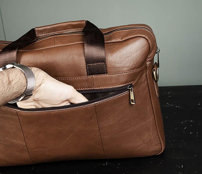 BAG428-2 Стильный мужской портфель из натуральной кожи с ремнем на плечо фото 06