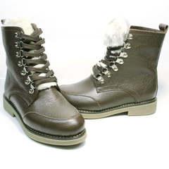 Женские кожаные ботинки на цигейке Studio27 576c Broun.