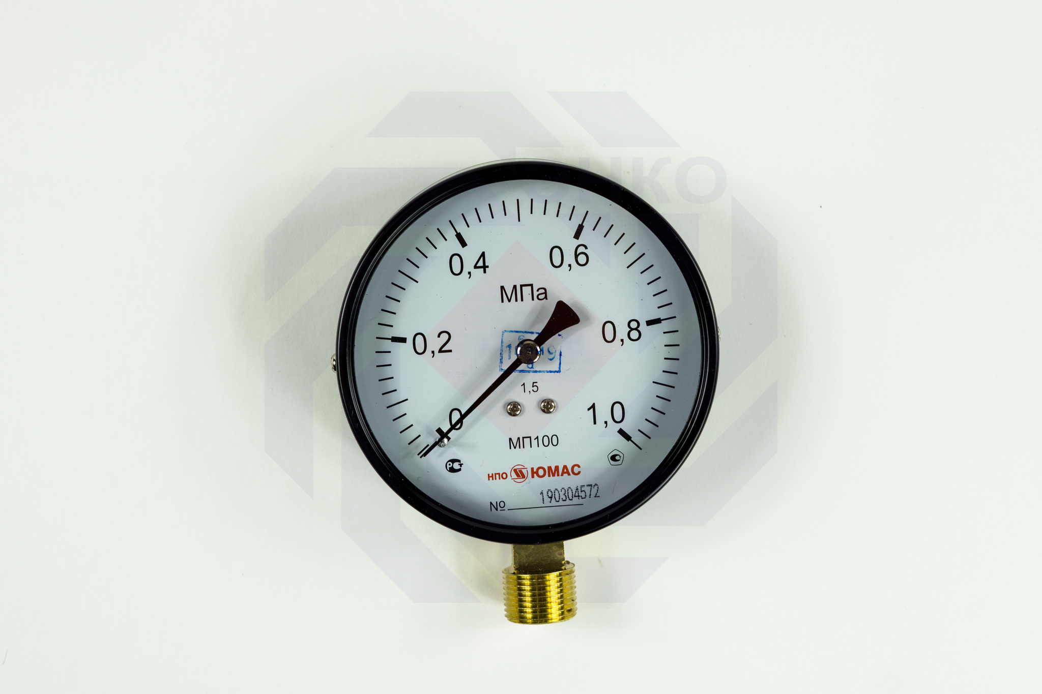 Манометр радиальный ЮМАС МП100М 0-1,0 МПа 100 мм M20⨯1,5