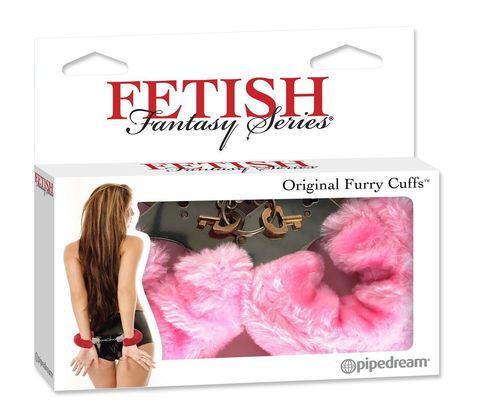 Металлические наручники Original Furry Cuffs с розовым мехом