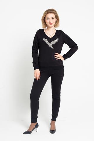 Костюм черный с свитером и брюками недорого