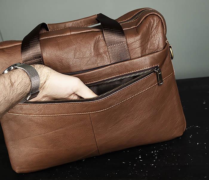 BAG428-2 Стильный мужской портфель из натуральной кожи с ремнем на плечо фото 07