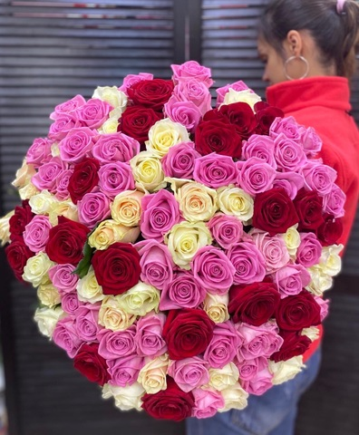 101 роза микс 60 см #1455
