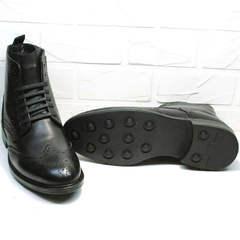 Зимние ботинки мужские классические на шнуровке LucianoBelliniBC3801L-Black .