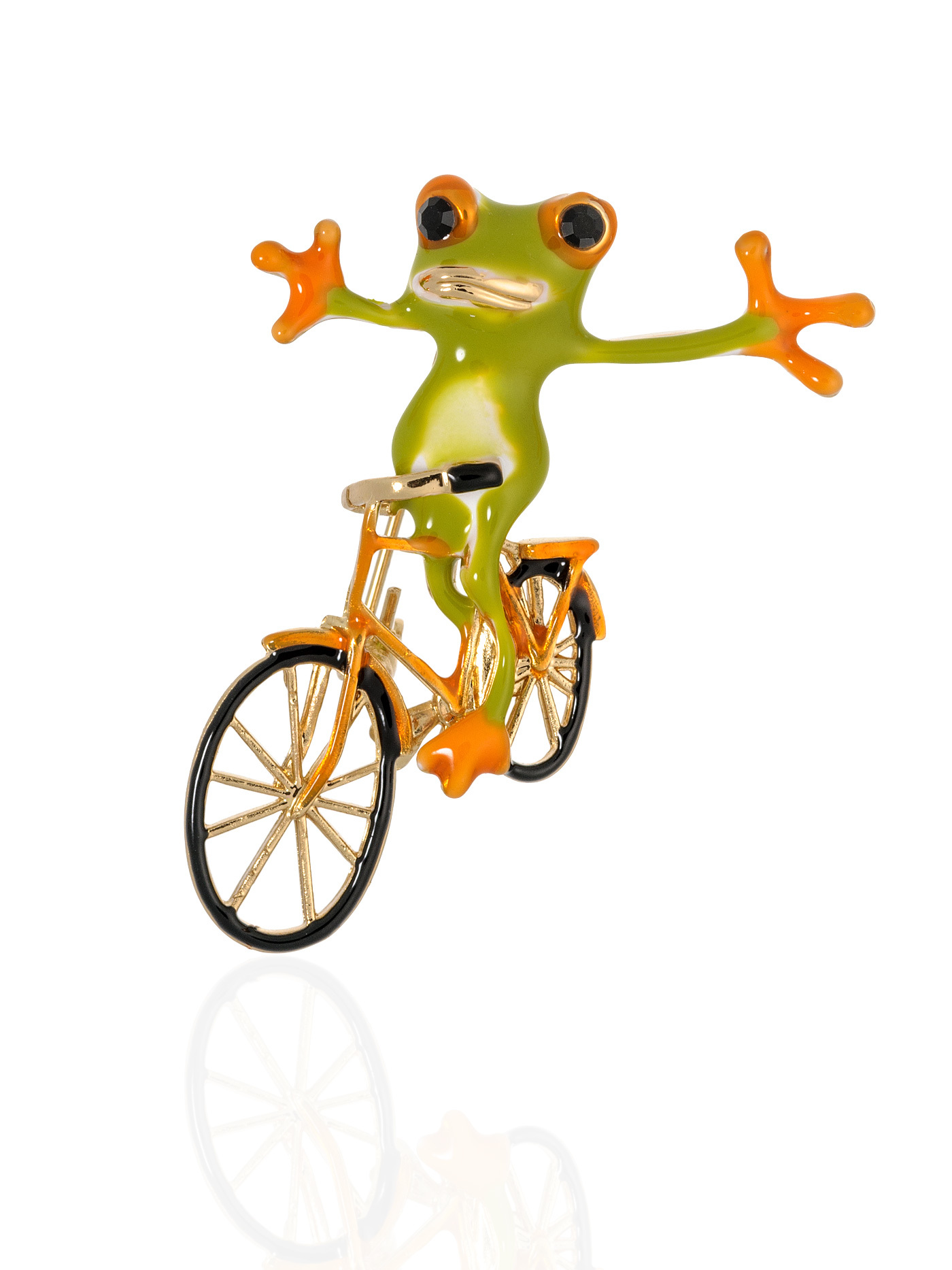 Брошь Лягушка на велосипеде