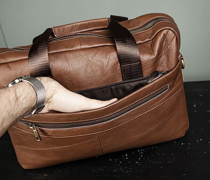 BAG428-2 Стильный мужской портфель из натуральной кожи с ремнем на плечо фото 08