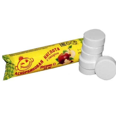 Аскорбиновая кислота с сахаром 25 мг №10 со вкусом яблока 1кор*12бл*20шт