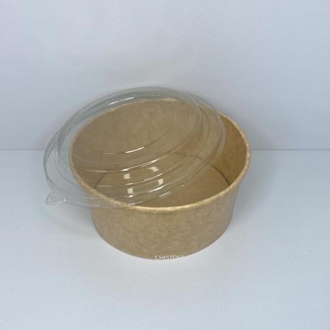 Бумажный контейнер (салатник) 750 мл крафт + крышка Ø145х750 РЕТ