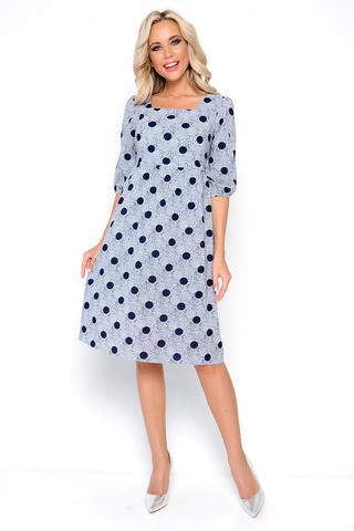 """<p>Идеальный вариант для романтического свидания. Платье отрезное, по линии груди со сборкой; рукав 3/4, пышный, на резинке. Горловина: фасон """"карэ"""". Платье на подкладе.</p>"""