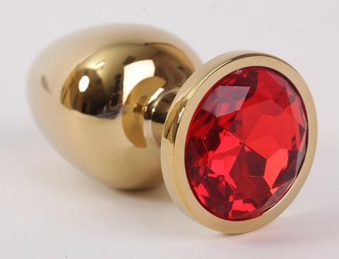 Анальная пробка золото со вставкой красный 9,5х4см 47003-2-MM