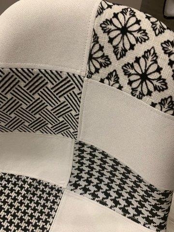 Интерьерный дизайнерский кухонный стул Eamеs Patchwork Black-White / Пэчворк