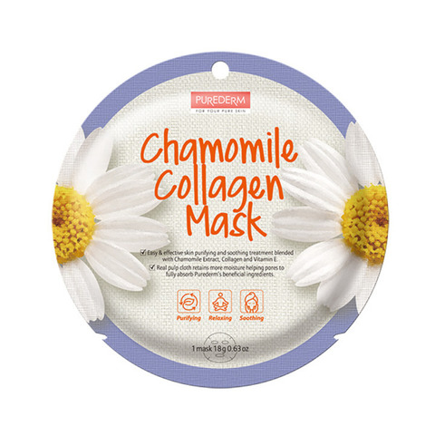 Тканевая маска для лица с ромашкой и коллагеном PUREDERM Circle Mask Chamomile Collagen