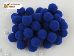Бархатные помпоны Люкс синие