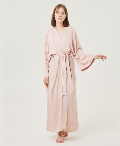 Кимоно из вискозы розовое длинное