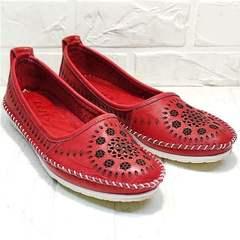 Женские кожаные балетки мокасины с перфорацией Rozen 212 Red.