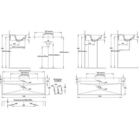 Раковина Jacob Delafon Reve 120x46,5см. Е4800-00 схема