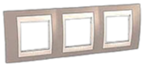 Рамка на 3 поста. Цвет Коричневый/Бежевый. Schneider electric Unica Хамелеон. MGU6.006.574