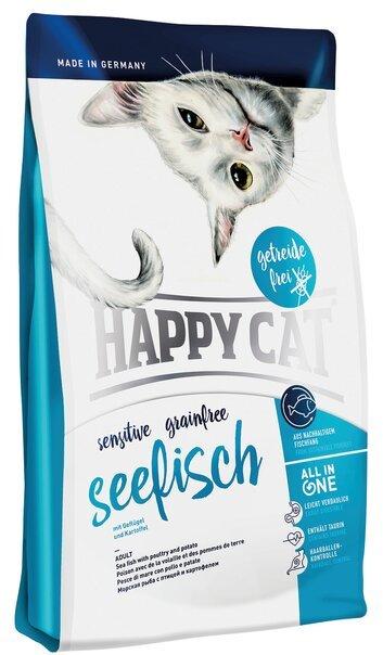 купить Happy Cat Sensitive Grainfree Seefisch сухой корм для взрослых кошек с морской рыбой, птицей, картофелем, и инжиром