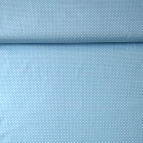 Ткань хлопковая белый горошек на голубом