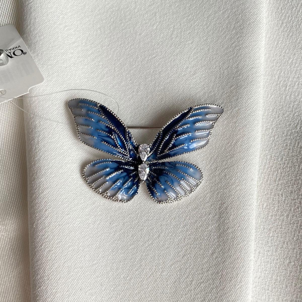Брошь Бабочка глазурь цирконы голубая