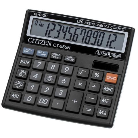 Калькулятор настольный КОМПАКТНЫЙ Citizen CT555N 12-разрядный черный