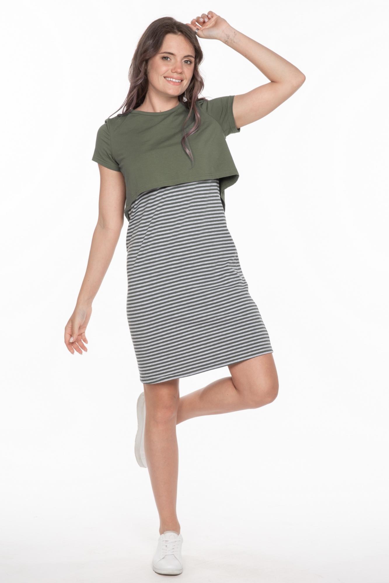 Фото платье для беременных и кормящих Magica bellezza от магазина СкороМама, хаки, размеры.