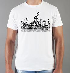 Футболка с принтом Ноты (с нотами, скрипичный ключ) белая 0010