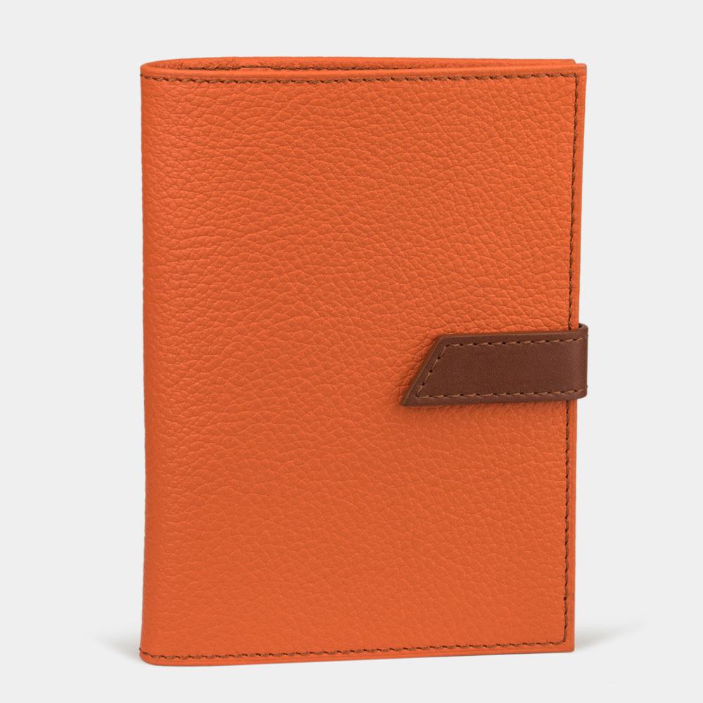 Обложка для паспорта и автодокументов Cannes Bicolor из натуральной кожи теленка, оранжевого цвета