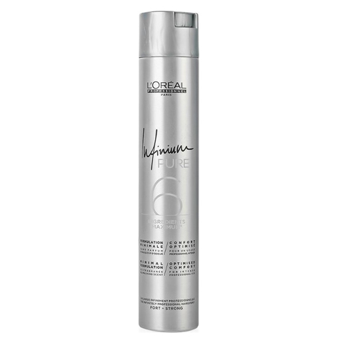 L'Oreal Professionnel Infinium Pure: Лак для волос сильной фиксации без запаха (Strong Hair Spray), 300мл/500мл