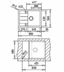 Мойка кухонная TEKA Astral 45B-TG - схема