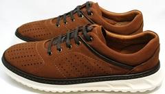 Коричневые кроссовки из нубука мужские Vitto Men Shoes 1830 Brown White