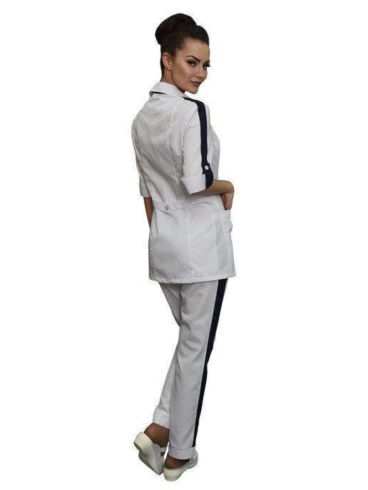 Белый костюм медицинский Бл-338+Б-115а с отделкой