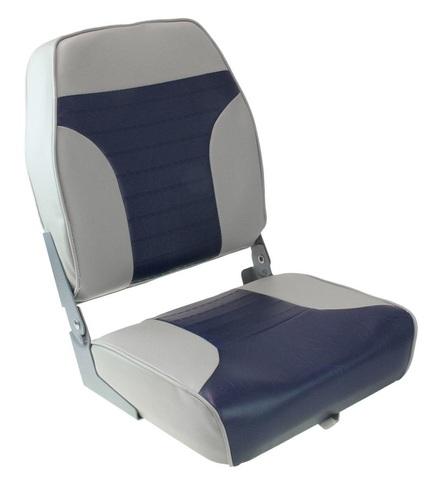 Сиденье мягкое складное ECONOMY с высокой спинкой, серо-синее