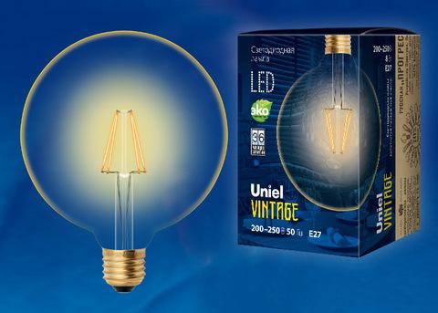 LED-G125-8W/GOLDEN/E27 GLV21GO Лампа светодиодная Vintage. Форма «шар», золотистая колба. Картон. ТМ Uniel