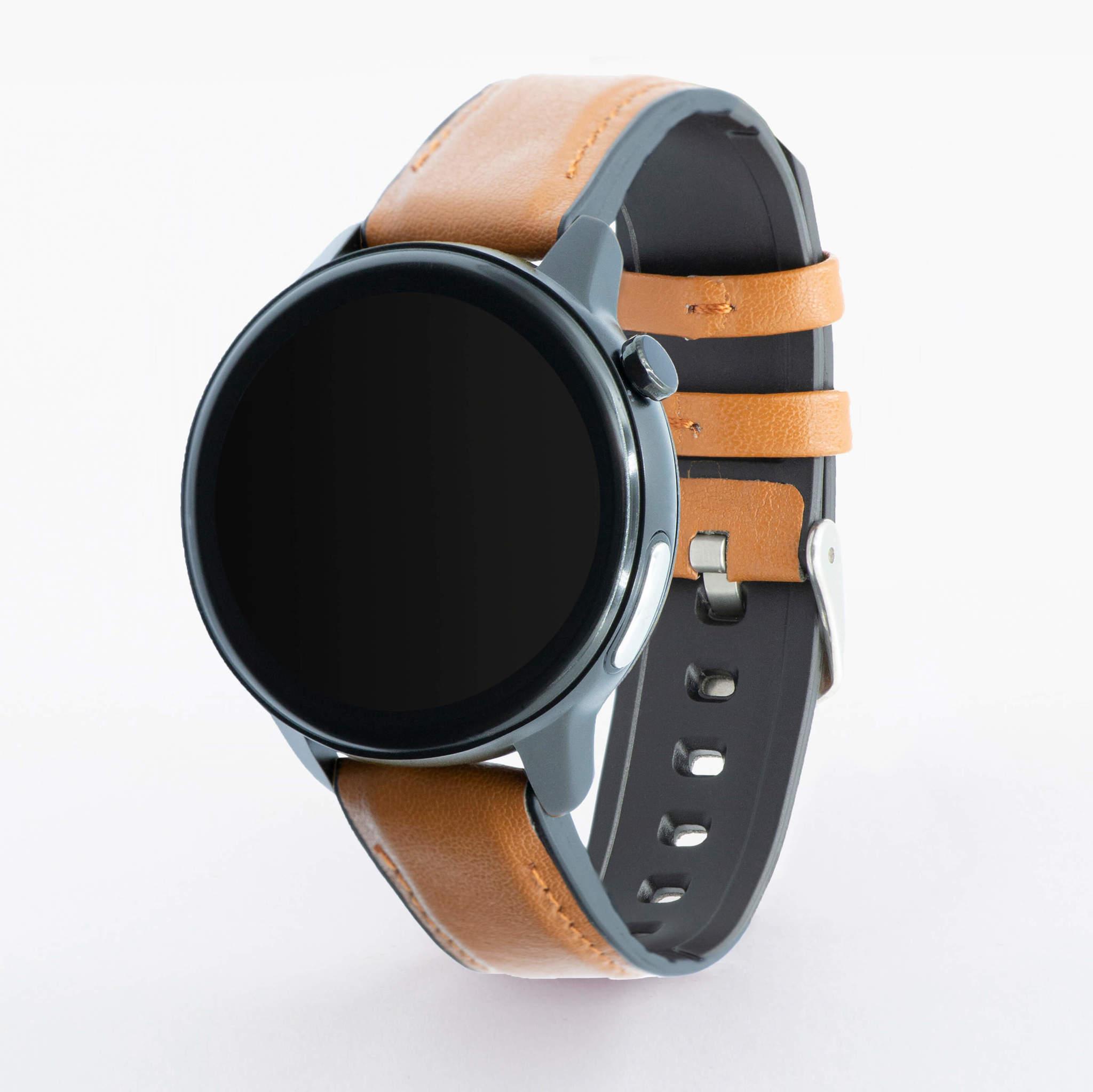Профессиональные часы здоровья с автоматическим измерением температуры тела, давления, пульса, кислорода, снятием ЭКГ и контролем аномального пульса Health Watch Pro №80 (коричневый силикон)