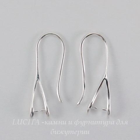 Швензы - крючки с держателем для подвески, 25 мм (цвет - серебро), пара
