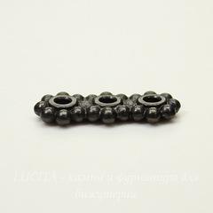 Разделитель на 3 нити TierraCast (цвет-черный никель) 16х6х2 мм