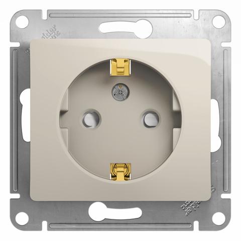 Розетка с заземлением и шторками, 16А. Цвет Молочный. Schneider Electric Glossa. GSL000945