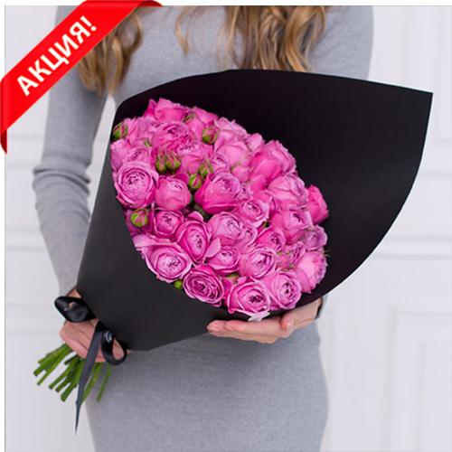 Купить букет 25 розовых кустовых пионовидных роз Мисти Баблс в Перми