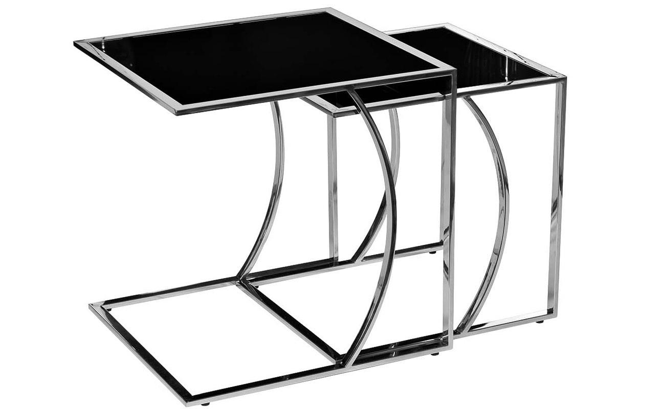 13RXNT5076L-SILVER Стол журнальный 50*45*49 черный/серебро и 13RXNT5076M-SILVER Стол журнальный 45*40*44 черный/серебро