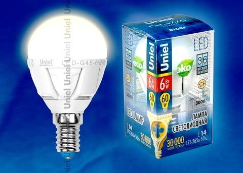 Uniel Лампа LED-G45-6W/WW/E14/FR Palazzo шарик (теплый свет)