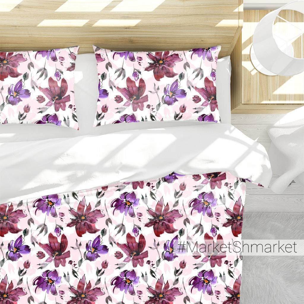 Бордовые и фиолетовые цветы акварелью