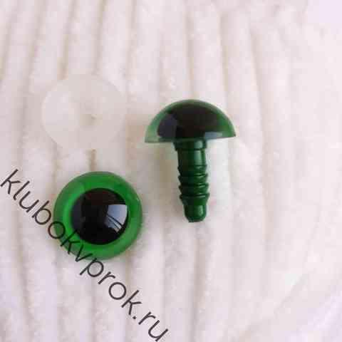 Глаза пластиковые с фиксатором 14 мм, 1 пара, зеленые