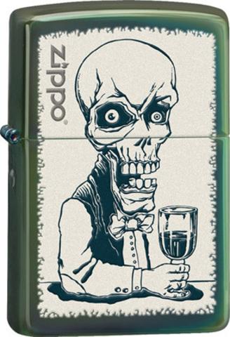 Зажигалка Zippo Skeleton, латунь с покрытием Chameleon™, зеленый, глянцевая, 36х12x56 мм