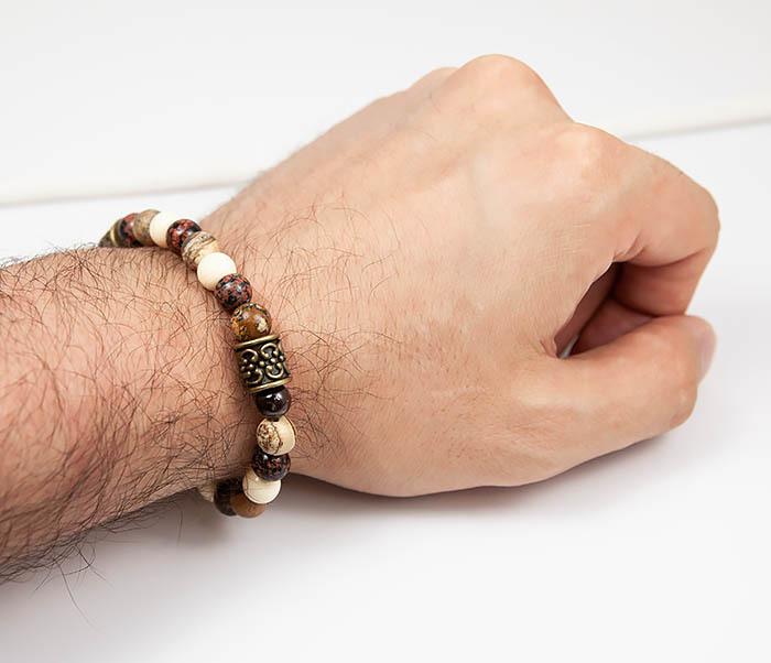 BS784 Мужской браслет из натуральных камней фото 07
